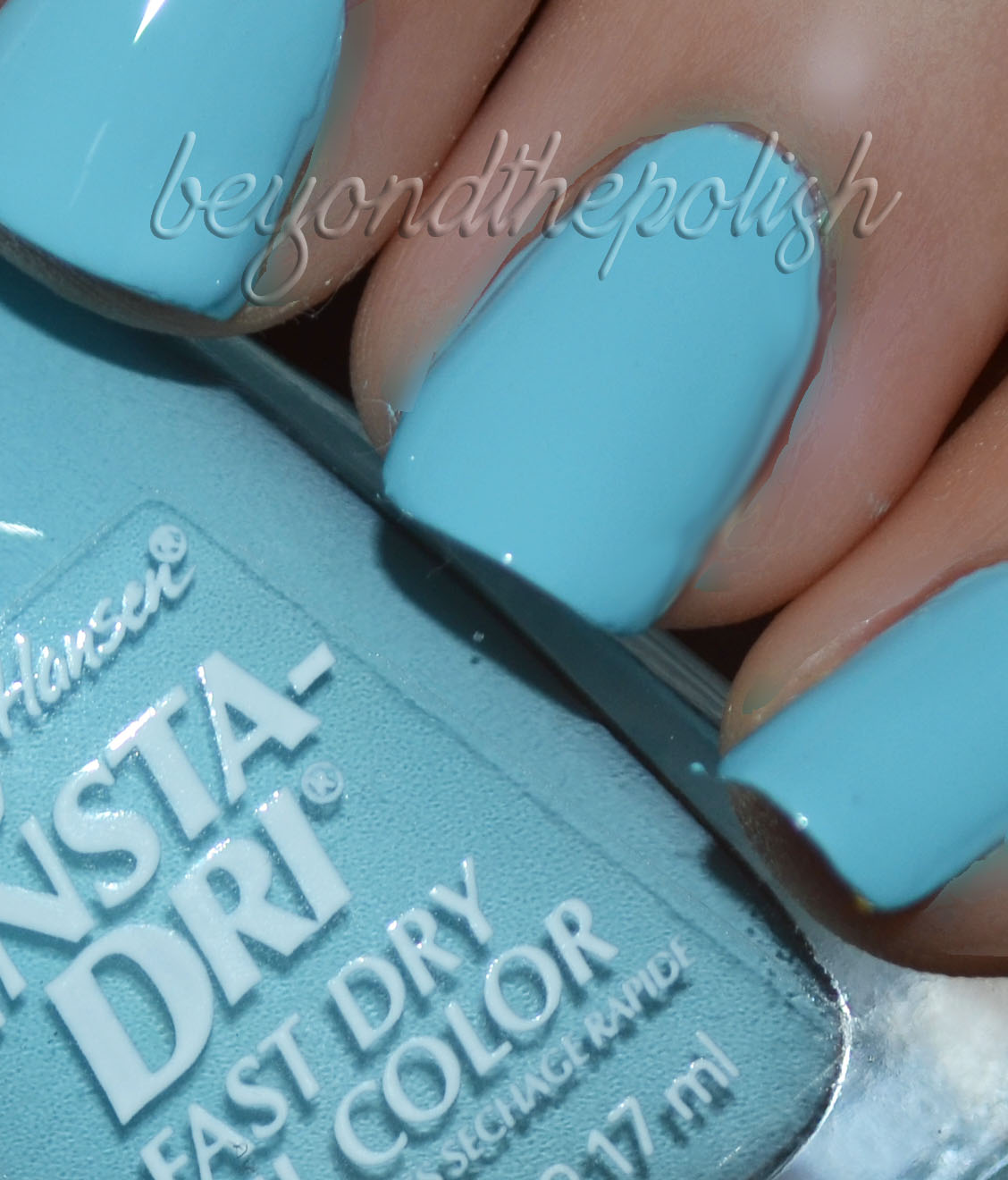 Sally Hansen Insta-Dri Fast Dry Nail Colour  Swatches and Review Sally Hansen Insta Dri Blue Away